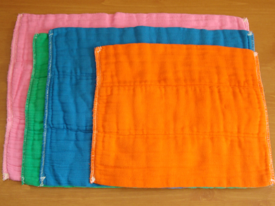 Dyed Prefold Selection- Deep Orange, Electric Blue, Kelly Green, Hot Pink