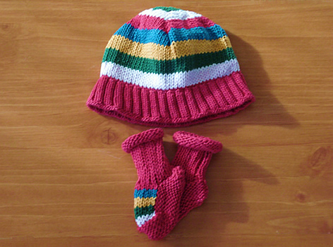 100% Cotton Hand Finished Hat and Booties